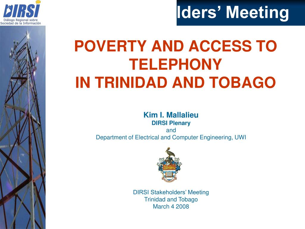 poverty and access to telephony in trinidad and tobago l.