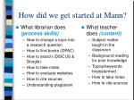 how did we get started at mann