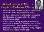 richard lazarus 1922 cognitive mediational theory