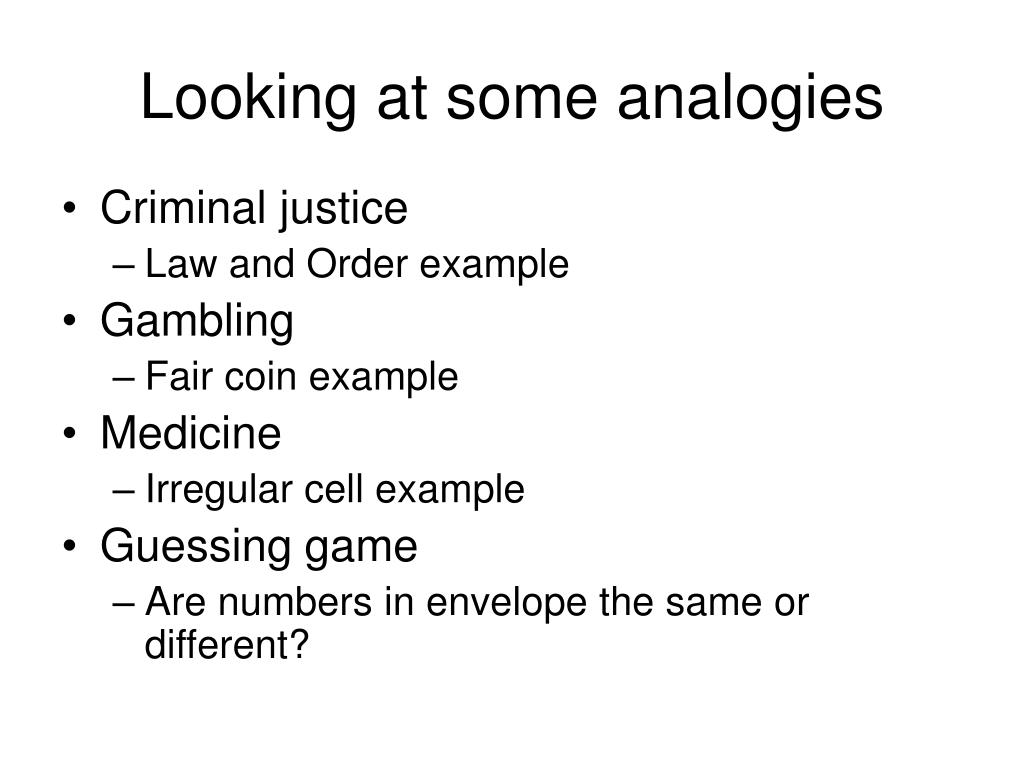 Looking at some analogies