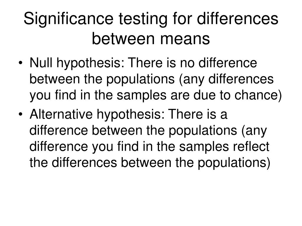 Significance testing for differences between means