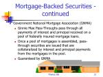 mortgage backed securities continued