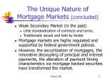 the unique nature of mortgage markets concluded