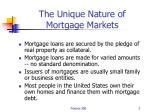 the unique nature of mortgage markets