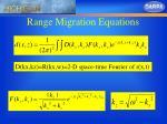 range migration equations