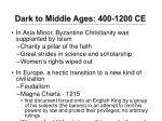 dark to middle ages 400 1200 ce