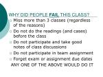why did people fail this class
