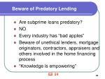 beware of predatory lending