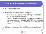 full vs reduced documentation
