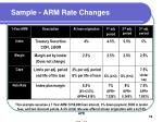 sample arm rate changes