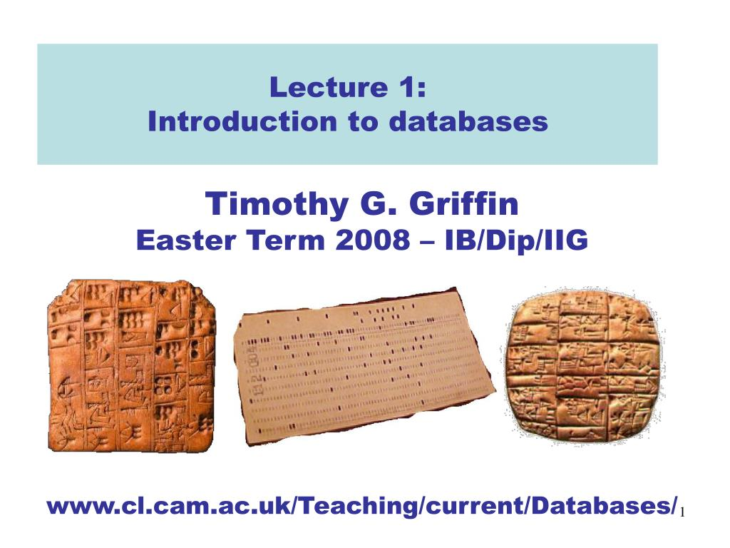 lecture 1 introduction to databases l.
