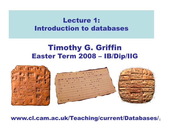 lecture 1 introduction to databases n.