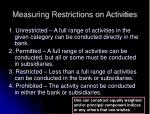measuring restrictions on activities