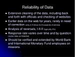 reliability of data