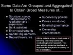some data are grouped and aggregated to obtain broad measures of