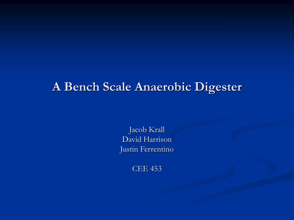 a bench scale anaerobic digester l.