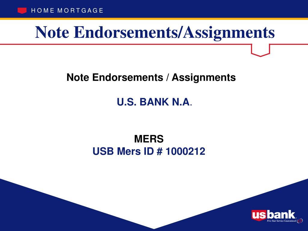 Note Endorsements/Assignments