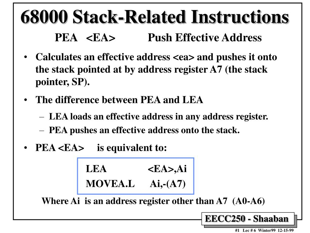 68000 stack related instructions l.