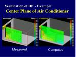 verification of db example center plane of air conditioner