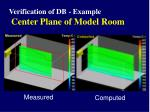 verification of db example center plane of model room