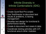 infinite diversity in infinite combinations idic