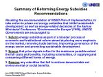 summary of reforming energy subsidies recommendations