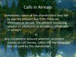 calls in arrears