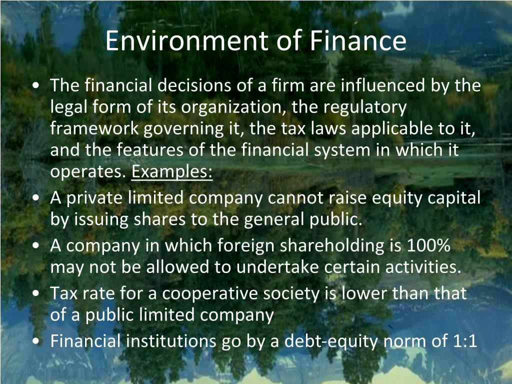 environment of finance l.