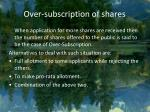 over subscription of shares