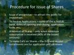 procedure for issue of shares