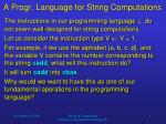 a progr language for string computations