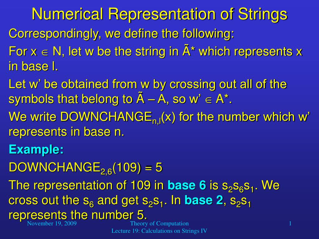 numerical representation of strings l.