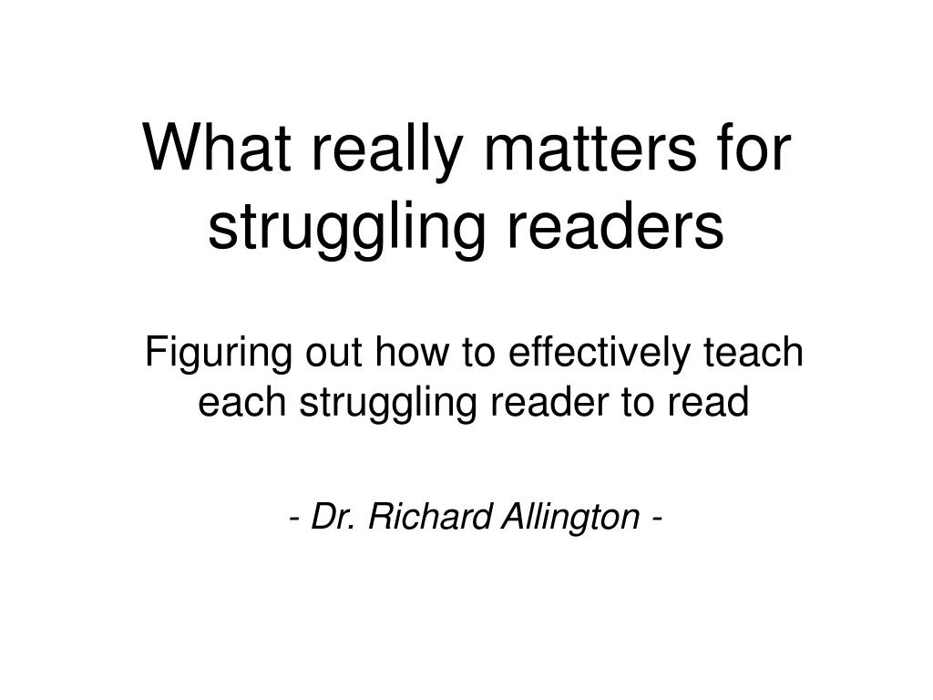 what really matters for struggling readers l.
