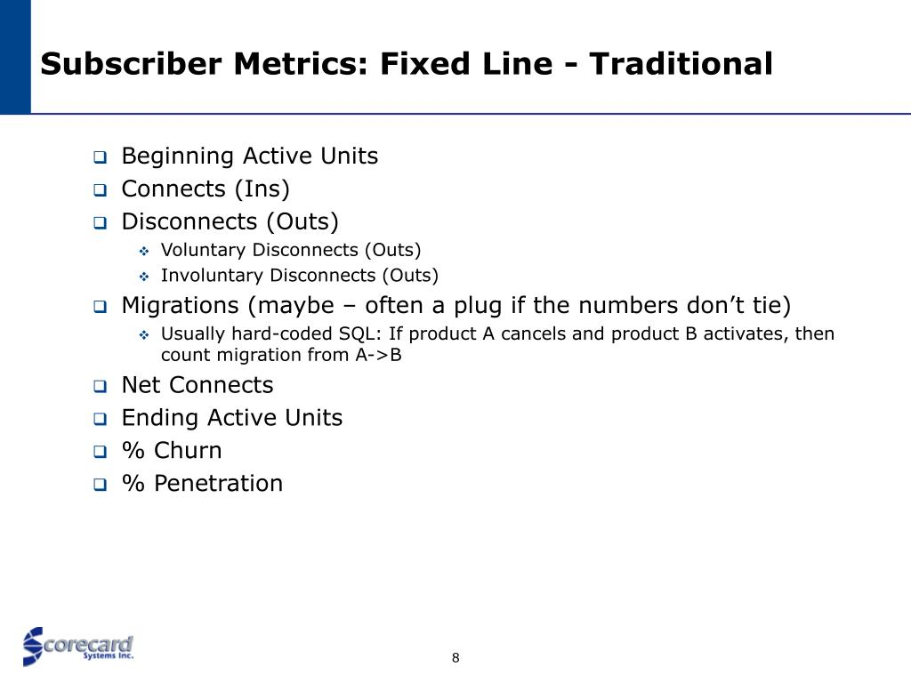 Subscriber Metrics: Fixed Line - Traditional
