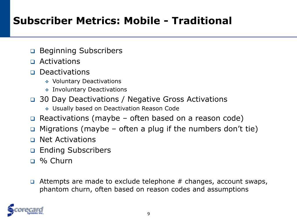 Subscriber Metrics: Mobile - Traditional