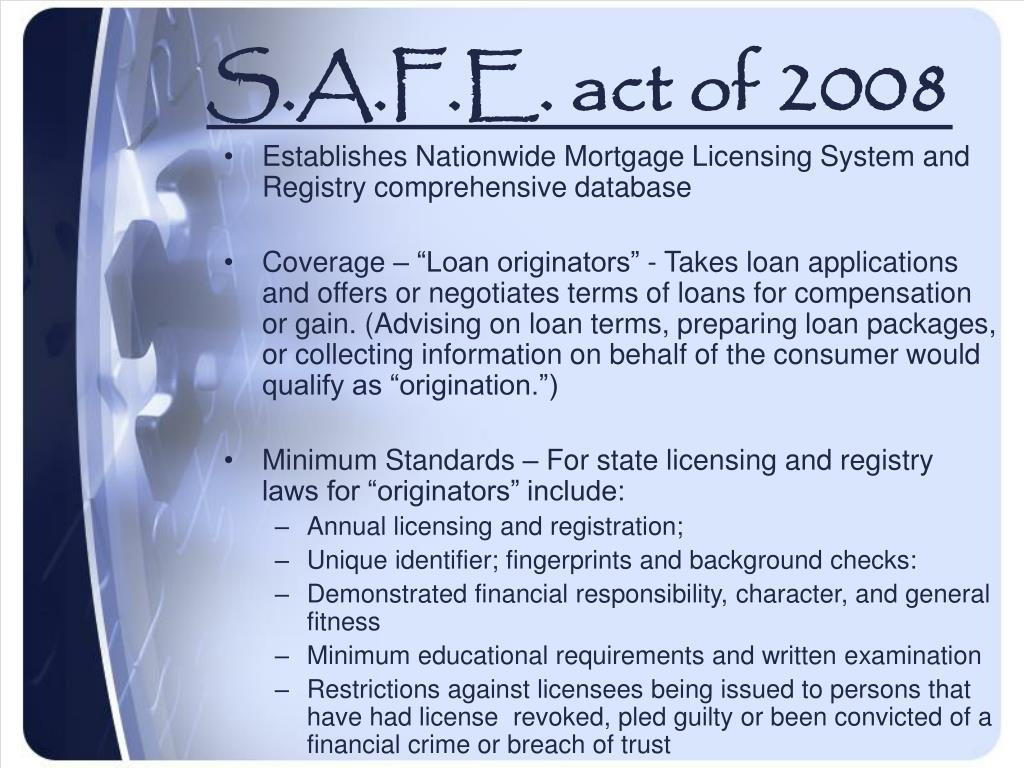 S.A.F.E. act of 2008