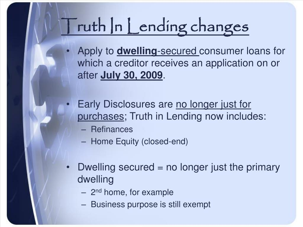 Truth In Lending changes