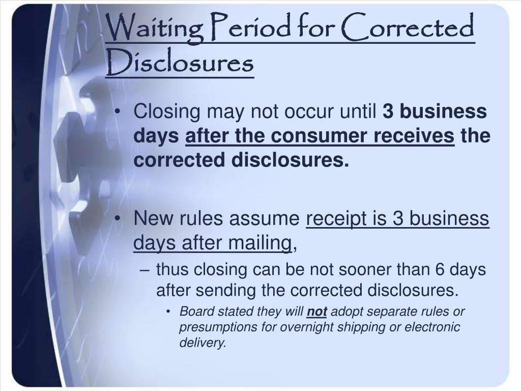Waiting Period for Corrected Disclosures
