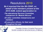 resolutions 2010