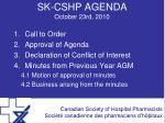 sk cshp agenda october 23rd 2010