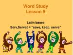 word study lesson 9