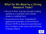 what do we mean by a strong research team
