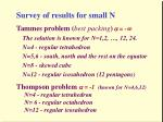 survey of results for small n