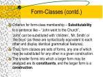 form classes contd