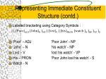 representing immediate constituent structure contd