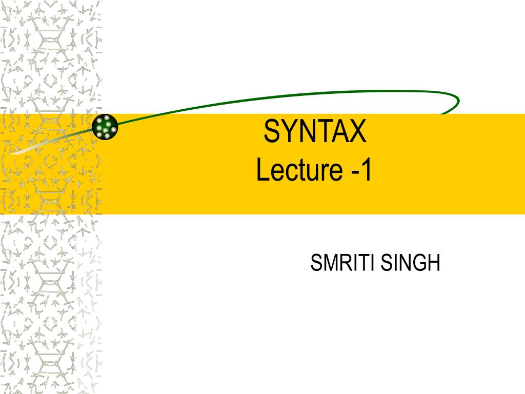 syntax lecture 1 l.