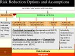 risk reduction options and assumptions