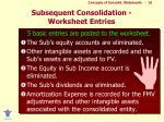 subsequent consolidation worksheet entries