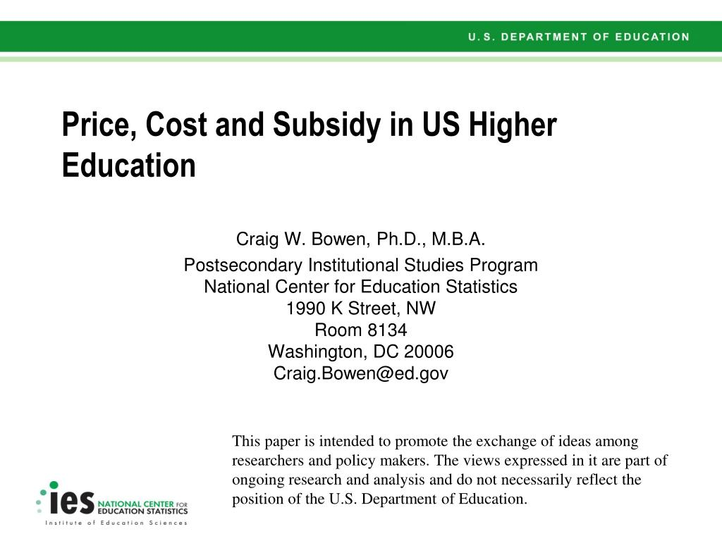 price cost and subsidy in us higher education l.