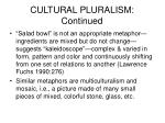 cultural pluralism continued